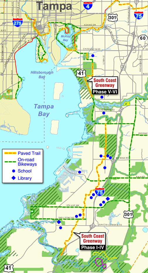 South Coast Greenway map