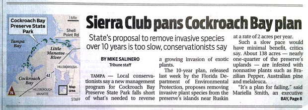 Tribune article on Cockroach Bay Plan