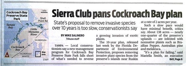 Tribune article on Cockroach Bay Plan