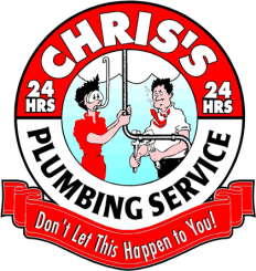 "Chris's Plumbing Service's logo ironically says ""Don't let this happen to you!"""