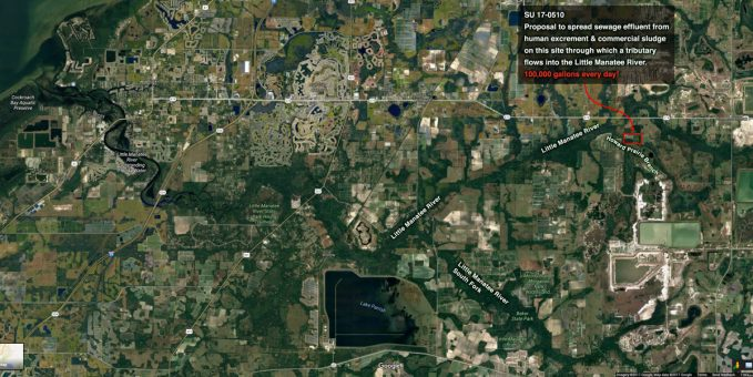 Proposed site of sewage dump on the Little Manatee River system