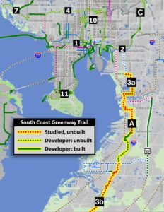 South Coast Greenway Trail map